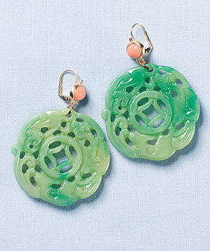 Kenneth Jay Lane faux-jade earrings