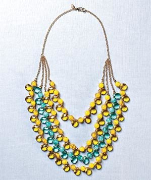 Lydell yellow and aqua beaded necklace