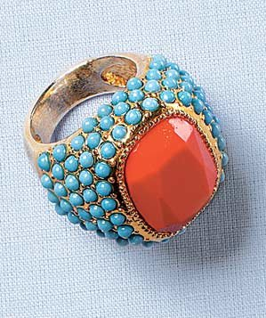 Sequin coral stone ring