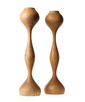 Mayfair teak candle sticks