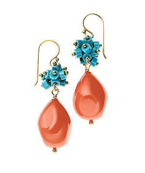 Wendy Mink turquoise and artificial coral earrings