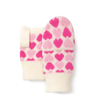 Boxed Heart Pop Top Mittens