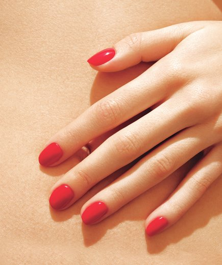 model-red-manicured-nails
