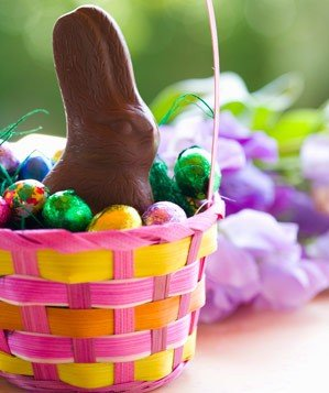 Chocolate bunny and chocolate eggs in Easter basket