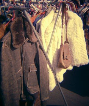Vintage coats on clothing rack
