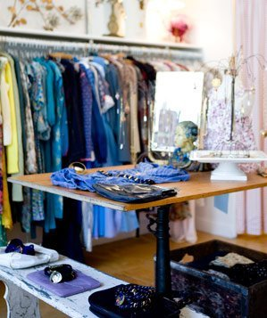 Interior of vintage clothing store