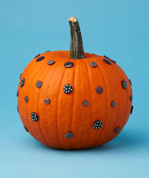 Pumpkin with buttons on it