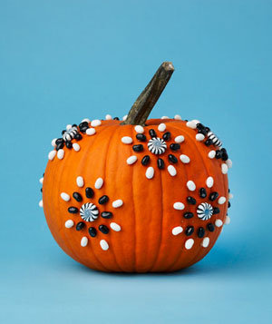 Pumpkin decorated with candy