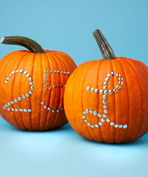 Pumpkins decorated with tacks