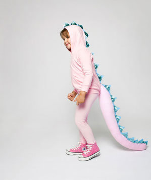 Girl in pink dragon costume