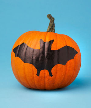 Pumpkin with painted bat