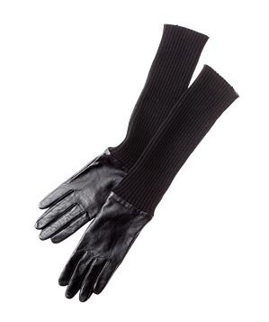 Leather-and-acrylic sweater gloves