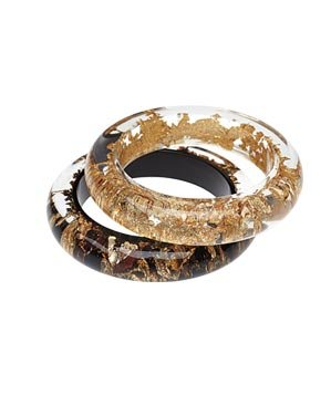 Metallique resin-and-metal bangles