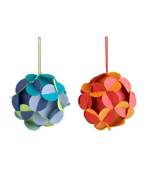 Recycled Flowerball Ornaments