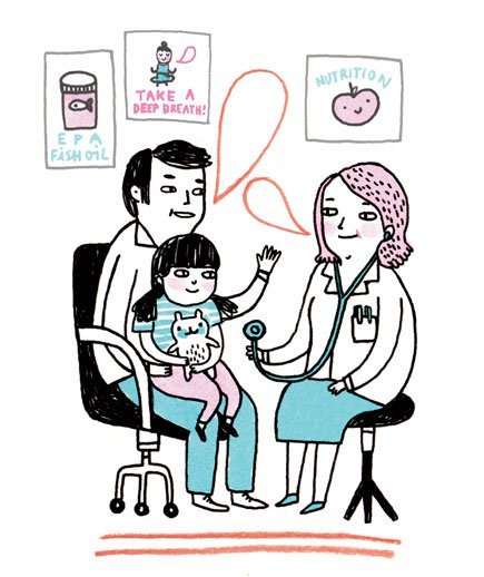 illustration-father-child-doctors-office