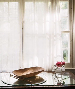 Window with white curtains
