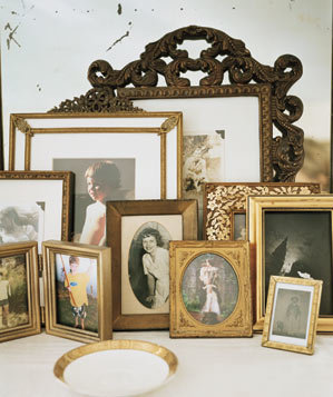 Old family photographs framed