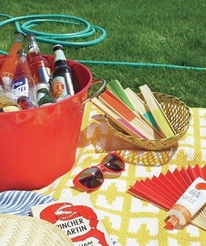 Beverages, fans, sunglasses, picnic blanket, and hose
