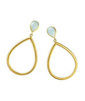 Julie Collection Gold-Plated Aqua-Chalcedony Earrings