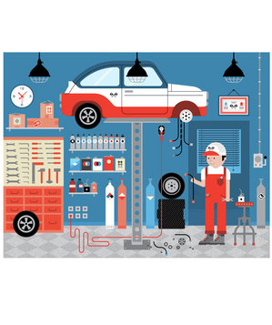 Illustration of a car mechanic at work
