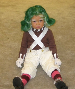 Stephanie Moore's daughter in an oompa loompa costume
