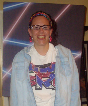 Lindsay Reinbold wearing a 1980s school portrait costume