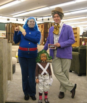 The Moore family dressed up as Willy Wonka characters