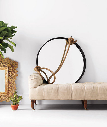 Ives Mirror Iron And Rope Mirror Camille Tufted Linen Settee