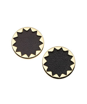 House of Harlow 1960 earrings of leather and gold plate