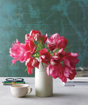 Pink tulip bouquet in a vase