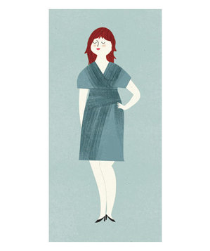 Illustration of a woman wearing a wrap dress