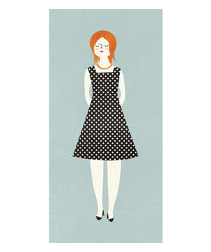 Illustration of a woman wearing a polka dot A-line dress