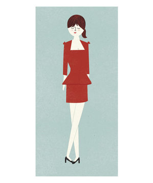 Illustration of a woman wearing a red peplum dress