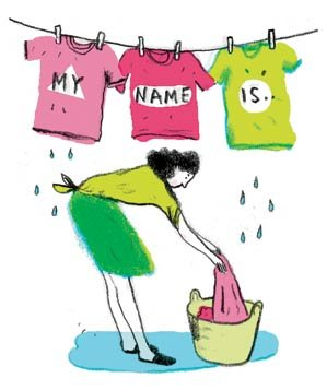 Illustration of woman hanging up shirts on clothesline