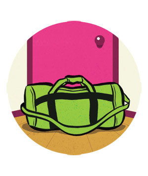 Illustration of packed gym bag