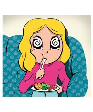 Illustration: Woman eating on couch while watching TV