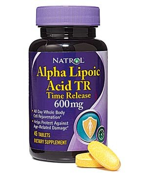 Bottle of Alpha lipoic acid supplements