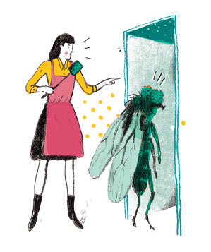 Illustration: woman shooing giant fruit fly