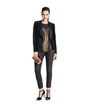 Velvet tuxedo jacket and brocade pants