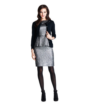 Lamé dress with embellished cardigan