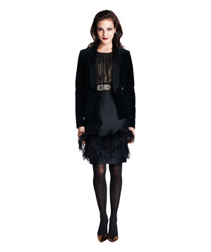 Velvet tuxedo jacket with feathered skirt