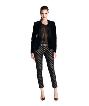 Velvet tuxedo jacket with brocade pants