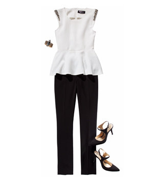 CelebBoutique peplum top and H&M pants