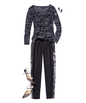 Rafaella sequined sweater and  Rachel Zoe pants
