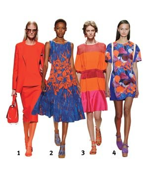 4 models wearing shades of red, orange and blue