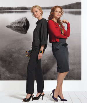 Models wearing cardigan and blouse and pullover with pants