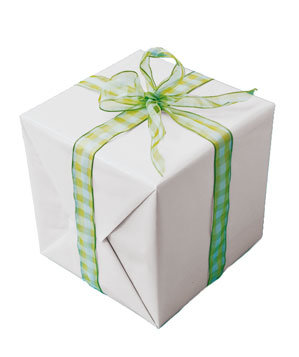 Gift tied with green ribbon
