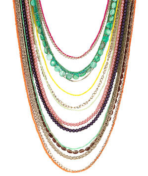 Beaded Long Multi-Stranded Necklace by Sequin