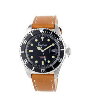 Freelook HA5305-4 Sea Diver Stainless Steel Brown Leather Band Black Dial Watch
