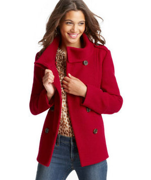 Loft Ridged Wool Blend Pea Coat
